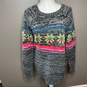 Oversized colorful sweater snowflake knit